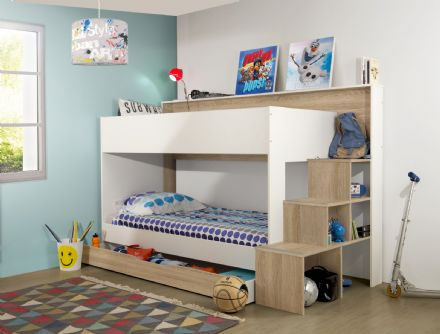 Teotea Bunk Bed, White and Oak, Euro Single